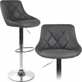 Hoker krzesło barowe pikowane Regulowane Szare