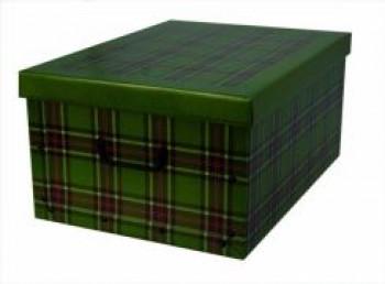 Miss Space Pudełko Kartonowe Midi Szkocka Krata Zielona