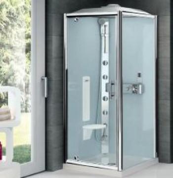 Novellini kwadratowa drzwi+ścianka 90x90x234 z sauną profil srebrny (Termostatyczny) GL3GF99T1N-1B