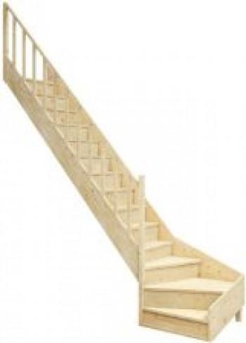 Schody drewniane z zabiegiem EQG 080RC lewe EQG080RC