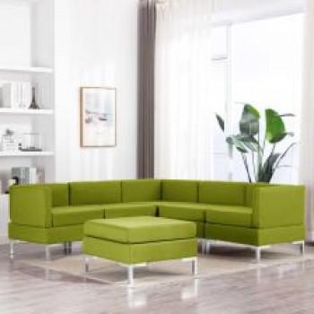 VidaXL 6-częściowy zestaw wypoczynkowy tapicerowany tkaniną zielony 3052784