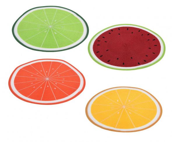 Kolorowa podkładka na stół, stołowa z motywem owocowym. Okrągła mata pod talerze