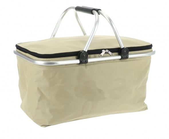 Koszyk na zakupy, kosz zakupowy, piknikowy, składany - beżowy