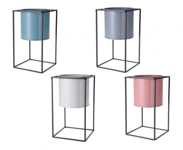 Kwietnik metalowy - donica osadzona w metalowym stojaku. 30 cm