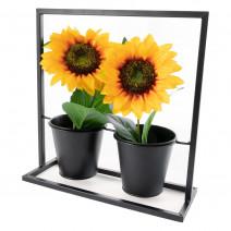 Loftowy stojak na kwiaty z metalu, kwietnik metalowy podwójny - czarny