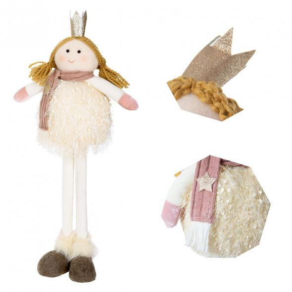 Ozdoba świąteczna stojąca anioł aniołek 53 cm beżowy