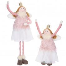 Ozdoba świąteczna stojąca teleskopowa anioł aniołek 66 cm różowy