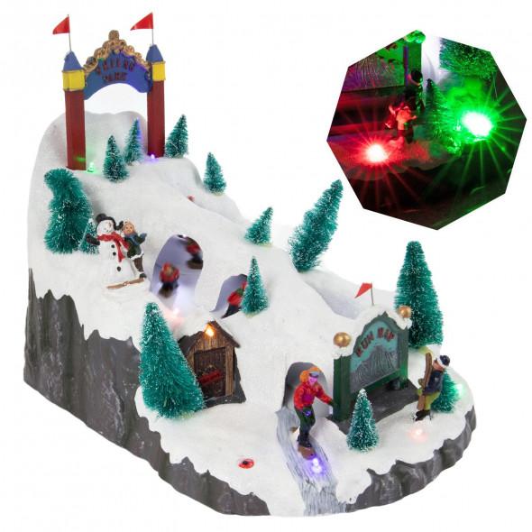 Ozdoba świąteczna szopka bożonarodzeniowa scenka podświetlana led ruchoma 32 cm