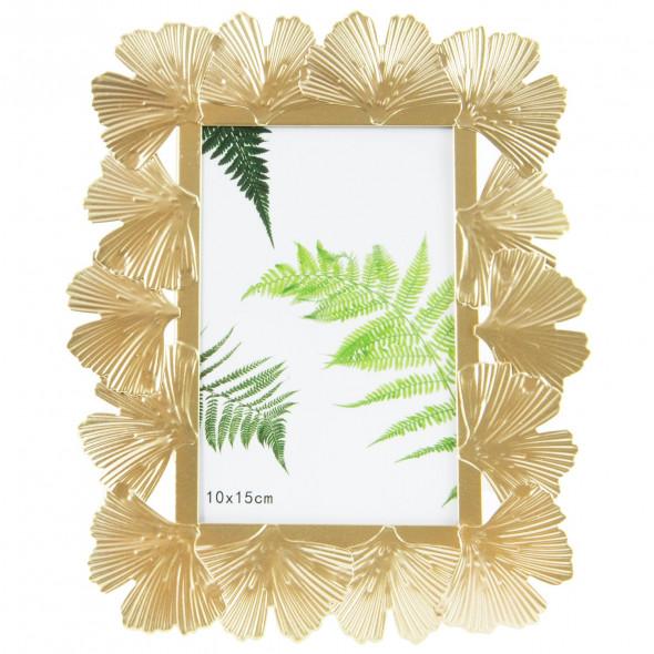 Ozdobna metalowa ramka na zdjęcia rozmiaru 10x15 cm, złota, glamour