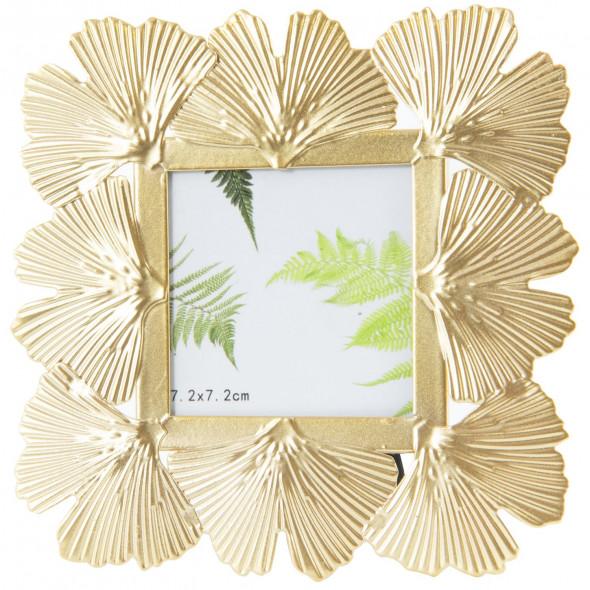 Ozdobna metalowa ramka na zdjęcia rozmiaru 7x7 cm, złota, glamour