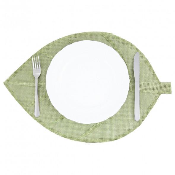 Podkładka na stół mata na stół pod talerze kształt liścia ciemnozielona