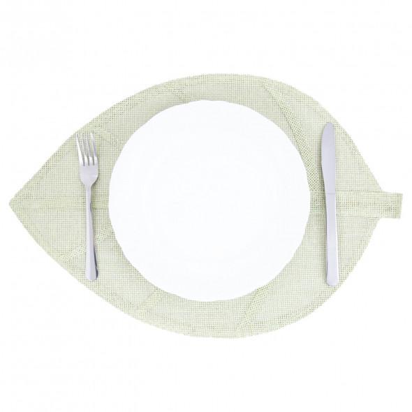Podkładka na stół mata na stół pod talerze kształt liścia zielona