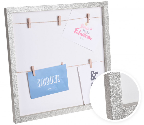 Ramka na zdjęcia, multiramka na 6 zdjęć, błyszcząca rama - srebrna 10 x 15 cm