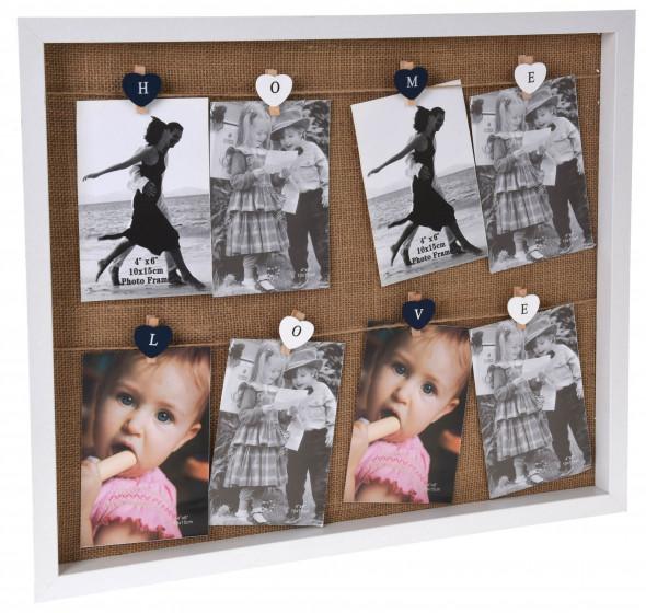 Ramka na zdjęcia, multiramka ze sznurkami na 8 zdjęć  10 x 15 cm