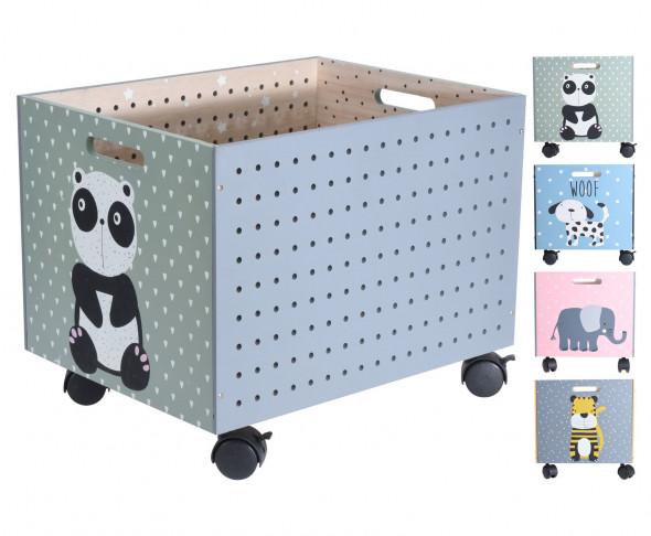 Skrzynia na zabawki na kółkach, pojemnik dziecięcy, drewniany, organizer