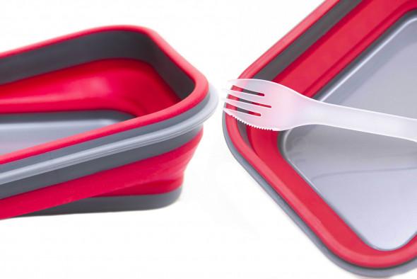 Śniadaniówka składana. Lunchbox składany. Pojemnik na lunch. Elastyczne pudełko na śniadanie. Widelec-łyżka-nóż w jednym w zestawie.