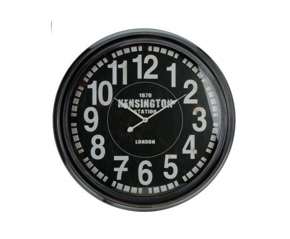 Staroświecki wiszący zegar kolejowy, ścienny zegar dworcowy, styl industrialny retro, vintage, loft Train Station Black 63 cm