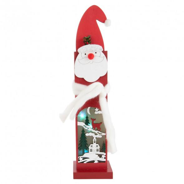 Stojąca ozdoba świąteczna figura drewniana LED 44 cm Święty Mikołaj