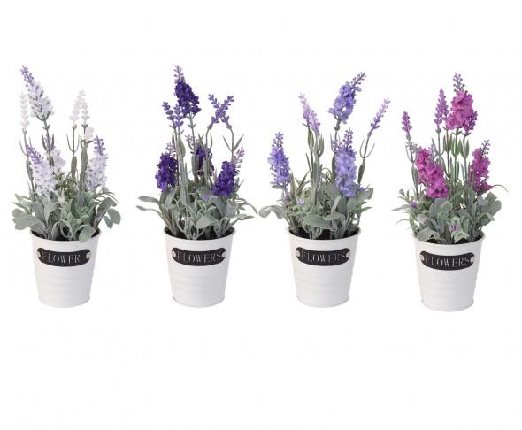 Sztuczne kwiaty, sztuczna roślina, roślinka, kwiat, kwiatek w doniczce, donicy - lawenda