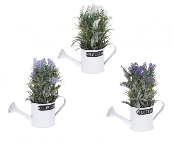 Sztuczny kwiat Lawenda, roślina, roślinka w metalowej donicy, konewce