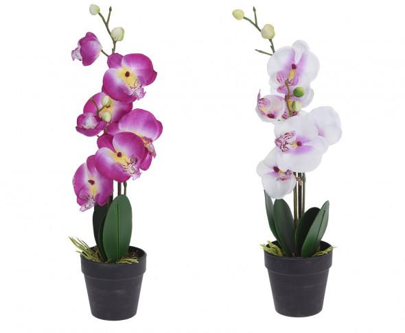 Sztuczny storczyk w donicy, sztuczna orchidea, roślina, roślinka, kwiat  - 47 cm