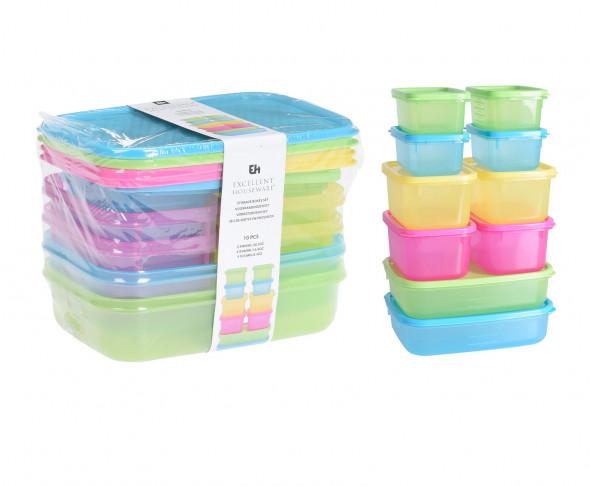 Zestaw 10 pojemników do przechowywania żywności. Z pokrywami. Pudełka na jedzenie. Pojemniki. 4 kolory w zestawie.
