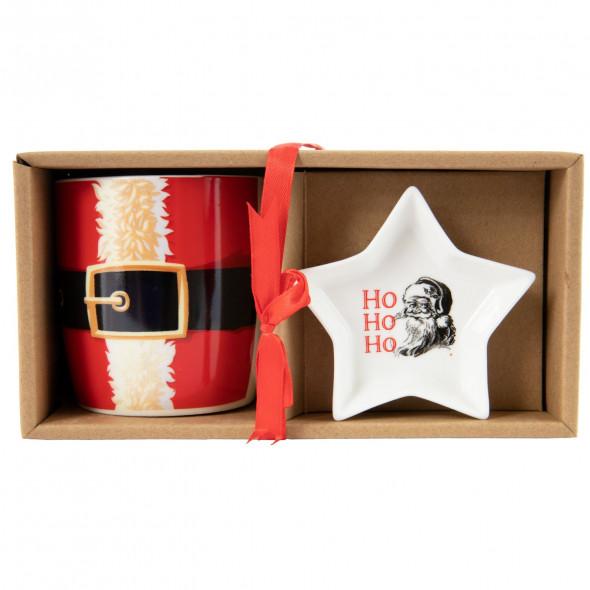 Zestaw kubek i spodek świąteczne porcelanowy na torebki do herbaty 320 ml 2 wzory