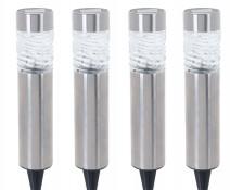Zestaw solarnych lamp lampa ogrodowa led na zewnątrz zewnętrzna ogrodowa metalowa słupek - 4 szt.