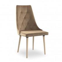 krzesło CARO VELVET  beżowy/buk KR35