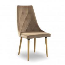 krzesło CARO VELVET  beżowy/dąb KR35