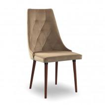 krzesło CARO VELVET beżowy/orzech KR35