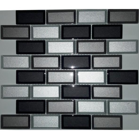 Mozaika szklana brick grey mix