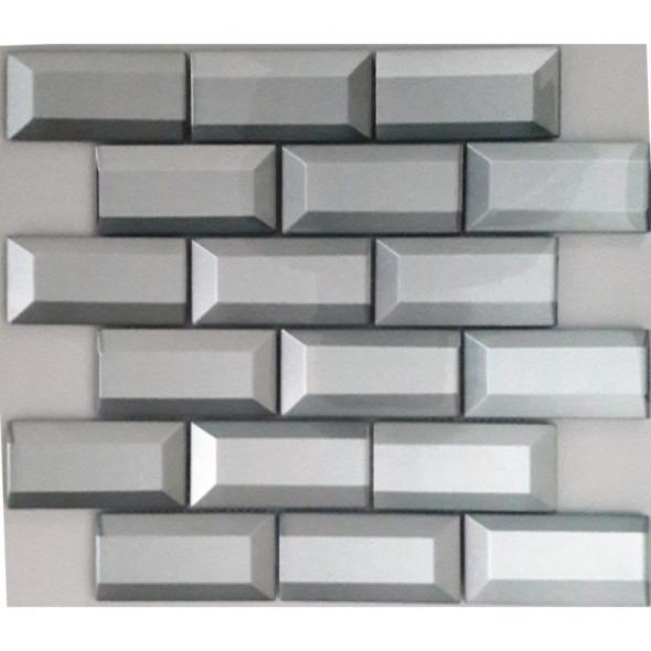 Mozaika szklana brick silver