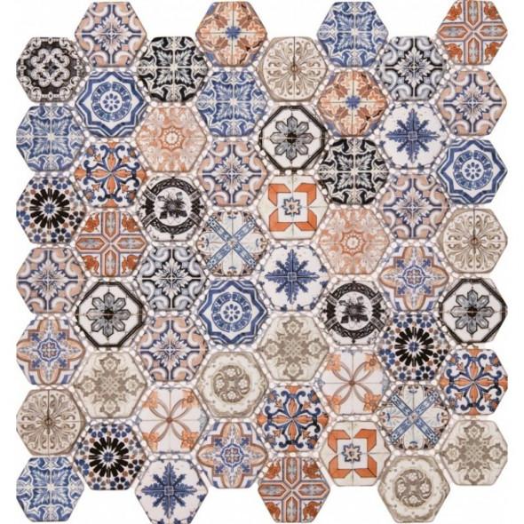 Mozaika szklana hexagon colori
