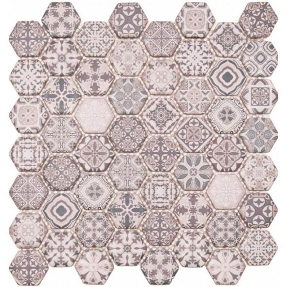 Mozaika szklana hexagon grigio