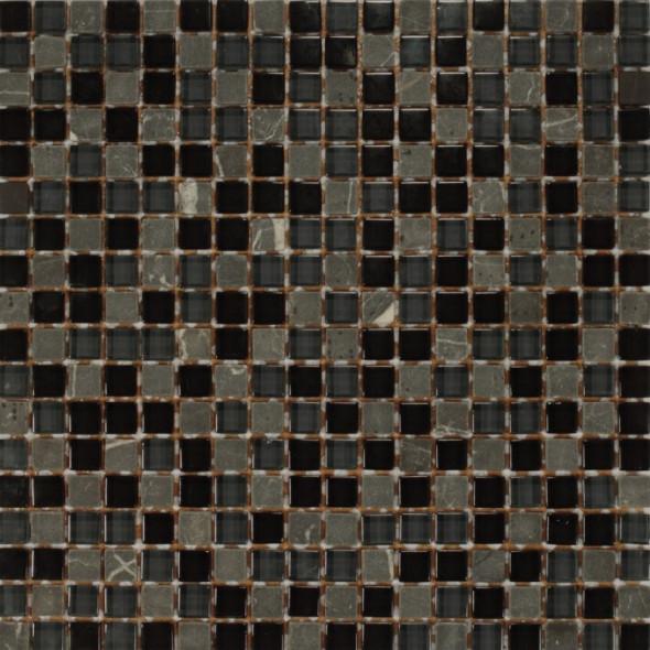 Mozaika szklana rustico nero 15x15
