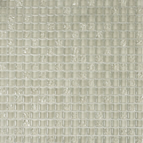 Mozaika szklana silver white 15x15