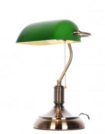 Klasyczna lampa Bankierska biurkowa zielona