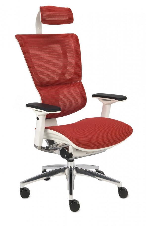 Grospol Fotel biurowy Ioo WS biały / czerwony (KMD32) --- OFICJALNY SKLEP Grospol