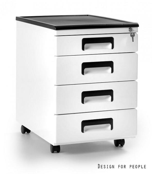 UNIQUE Kontener szafka biurowa (325) biały, srebrny, czarny --- OFICJALNY SKLEP Unique