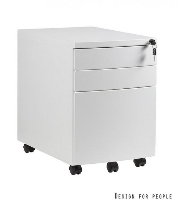 UNIQUE kontener szafka biurowa (RP-01) - 3 szuflady, biały, czarny, srebrny --- OFICJALNY SKLEP Unique