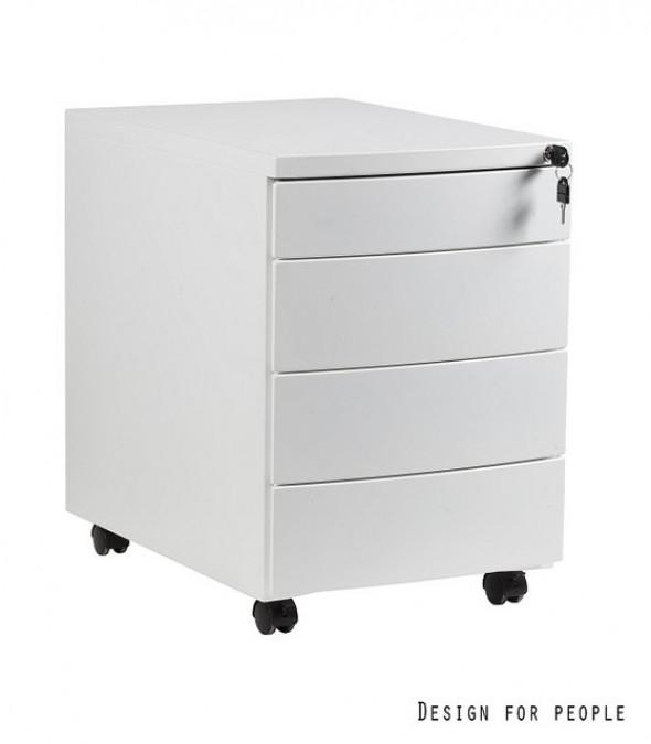UNIQUE Kontener szafka biurowa (RP-04) - 4 szuflady, biały, srebrny, czarny --- OFICJALNY SKLEP Unique