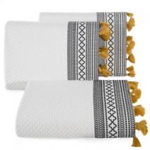 Elegancki ręcznik kąpielowy z frędzlami kremowy