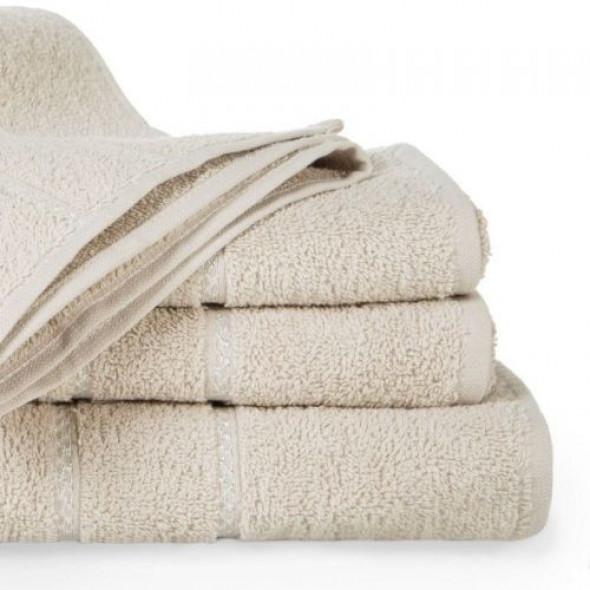 Jednobarwny ręcznik kąpielowy z naturalnej bawełny beżowy