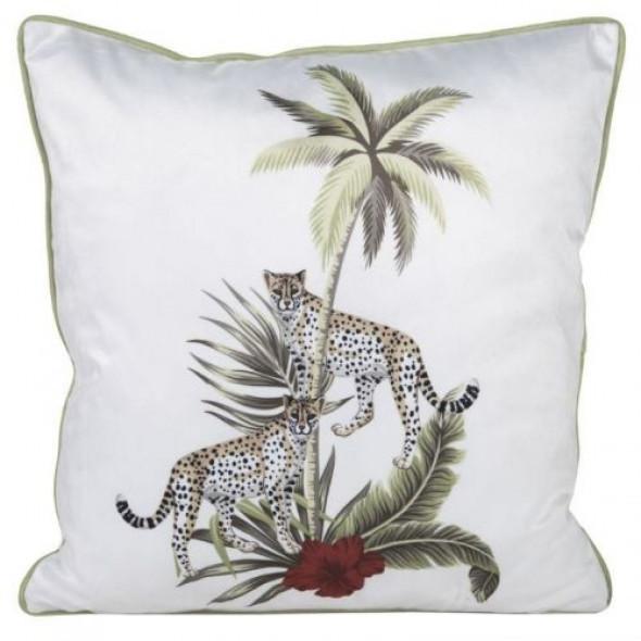 Miękka, matowa poszewka z przyjemnego w dotyku welwetu z gepardem i palmami