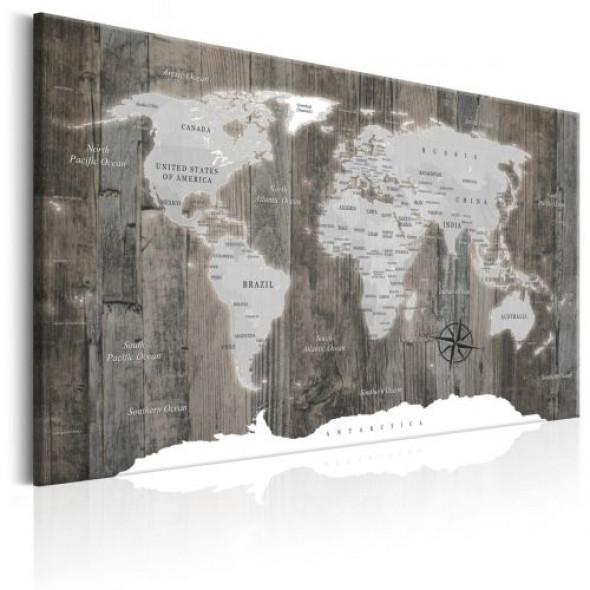 Obraz - Mapa świata: Drewniany świat