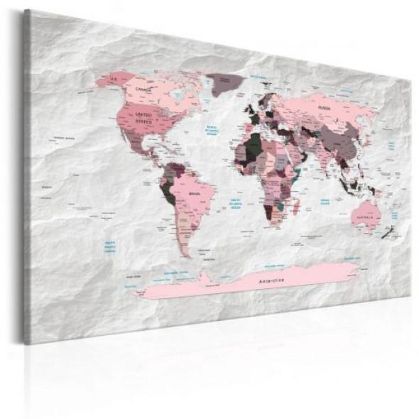 Obraz - Mapa świata: Różowe kontynenty