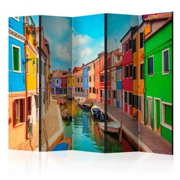 Parawan 5-częściowy - Kolorowy kanał w Burano II [Room Dividers]