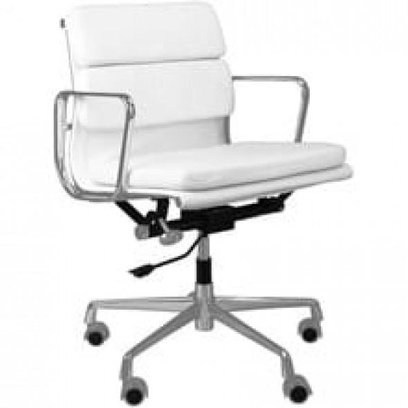 Biały Fotel Biurowy Skóra Naturalna Inspirowany Projektem EA217