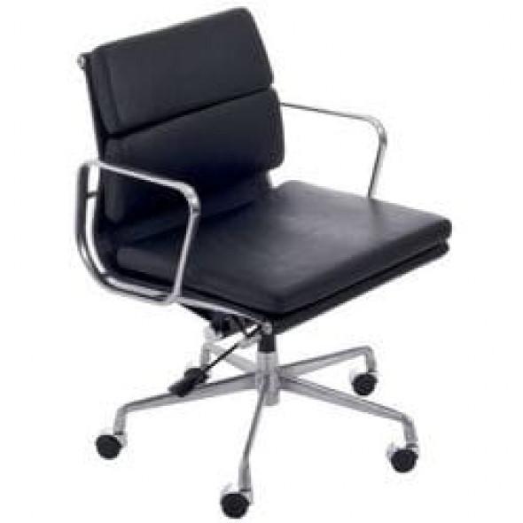 Czarny Fotel Biurowy Skóra Naturalna Inspirowany Projektem EA217